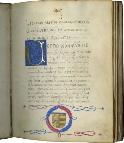 NEWLY DISCOVERED MANUSCRIPT OF A FAMOUS LIFE OF CHARLEMAGNE BY AN ITALIAN HUMANIST. In Latin, illumi...