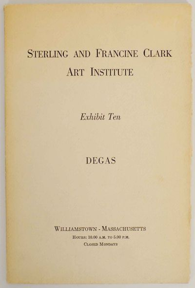 Williamstown, MA: Sterling and Francine Clark Art Institute, 1959. First edition. Softcover. Exhibit...