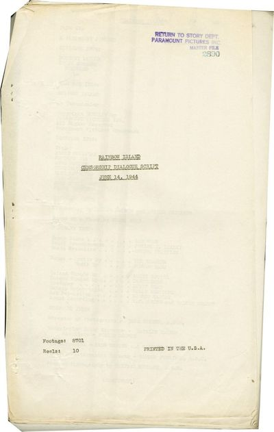 Hollywood: Paramount Pictures, 1944. Post-production Censorship Dialogue script for the 1944 film. T...