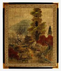 Peaceful Village, Vintage Japanese Painted Paper Panel, Mid-Twentieth Century. Large, with Vintage Frame. Zen art.