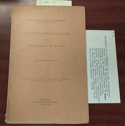 Washington: Philosophical Society of Washington, 1899. First Edition. Softcover. 8vo., paged 337-365...