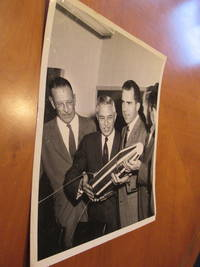 Photograph Of William H Pickering And Lee Dubridge Presenting And Explaining A Model Of Explorer I Space Craft To Vice Presidnt Richard Nixon In 1956