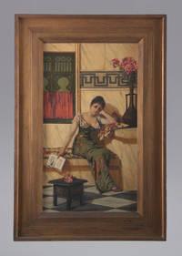 Woman reading in an Oriental setting..