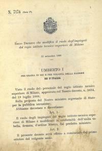 che modifica il ruolo degl\'impiegati del regio istituto tecnico superiore di Milano.