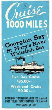 S. S. Manitoulin cruise flyer by Dominion Transportation Co./Owen Sound Transportation Co - [1946] - from Attic Books (SKU: 113345)