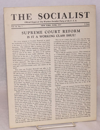 New York: Workers Socialist Party, 1937. Single issue of the 8-page, 8.5x11 inch newsletter, very go...