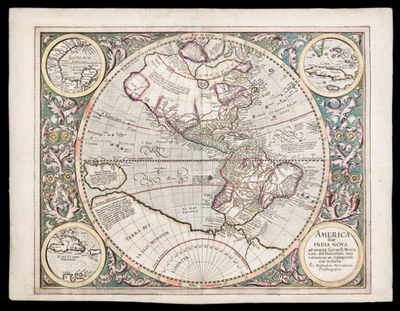 [Amsterdam: Hondius, circa, 1628. Copper-engraved map, early hand-colouring. French text on verso. R...