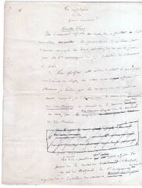 image of Holograph Article Signed, in French with translation, (Henri, 1844-1917, French General, Head of the École Supérieure de Guerre,  Writer on Warfare)