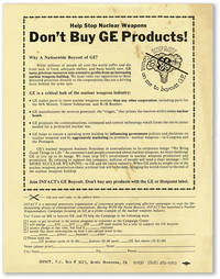 [Broadsheet] Help Stop Nuclear Weapons / Don't Buy GE Products!