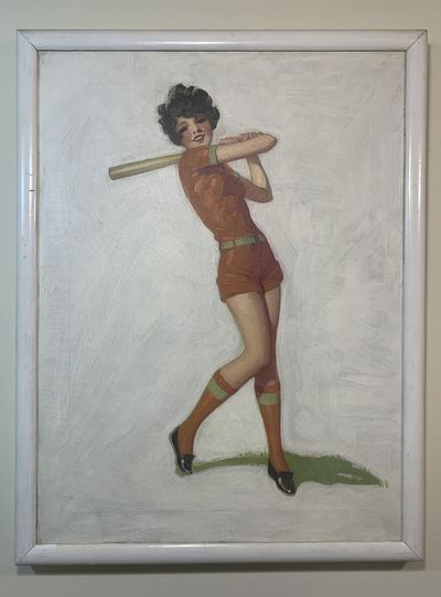 1928. Oil on canvas with artist made frame, 24 x 18 inches. Unsigned, wear to finish as expected, so...