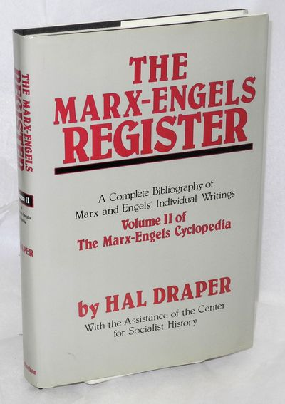 New York: Schocken Books, 1985. xxx, 271p., very good hardcover in dj. Marx-Engels cyclopedia, vol. ...