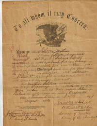 1865 Civil War Discharge of Mathias Schetzlea ( Matthias Schetzler ), Private, 150th Regiment of Indiana Infantry,  SIGNED by Samuel M. Whitside : Together with 1879 U.S. Dept. of the Interior Pension Bureau  Entitlement Document to His Widow, Frances Sch