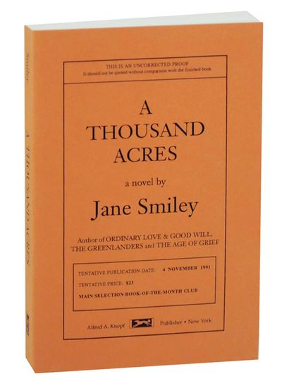 New York: Alfred A. Knopf, 1991. First edition. Softcover. Uncorrected proof of Smiley's Pulitzer Pr...