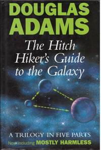 image of A GUIDE TO THE GUIDE, THE HITCH HIKER'S GUIDE TO THE GALAXIE,  THE RESTAURANT AT THE END OF THE UNIVERSE,  LIFE THE UNIVERSE AND EVERYTHING,  SO LONG AND THANKS FOR ALL THE FISH,  MOSTLY HARMLESS.