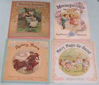 """Ernest Nister (grouping): Revolving Pictures; (with) Merry Magic-Go-Round; (with) Playtime Surprises; (with) Moving Pictures; (4 books featuring """"pull the tab"""", """"spine the wheel"""", """"pull for pop-ups"""", """"change the pictures by moving the ribbon tab"""")"""