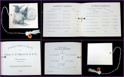 Concord, NH: E.A. Wright, Phila (engraver), February 24, 1892. A dance card for Company E, 3d Regime...