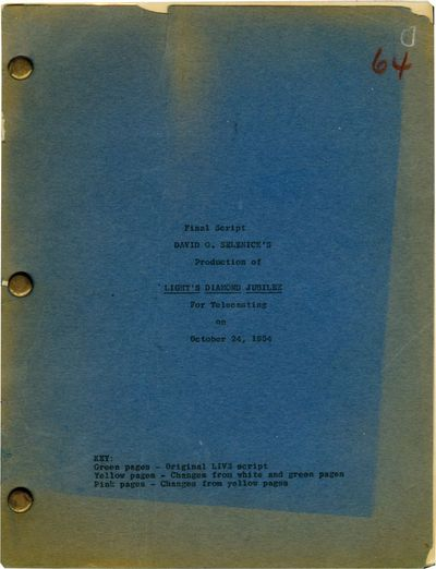 Burbank, CA: National Broadcasting Company , 1954. Final script for the 1954 television special, an ...