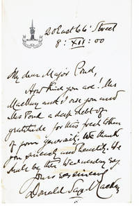 AUTOGRAPH LETTER SIGNED BY THE REV. DONALD SAGE MACKAY, PASTOR OF ST. NICHOLAS COLLEGIATE CHURCH, THANKING MAJOR J. B. POND FOR HIS GENEROSITY.