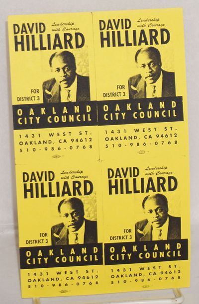 Oakland: Hilliard Campaign, 2000. 4x7 inch sheet comprised of four mini-leaflets intended to be cut ...