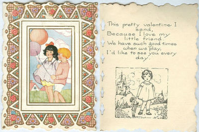 Image for VINTAGE VALENTINE WITH BOY AND GIRL WITH BALLOONS