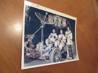 """Original  Nasa Color Photograph Inscribed By Apollo 15 Astronauts David R. Scott, Alfred M. Worden, And James """"Jim"""" Irwin In Space Suits In The Moon Rover"""