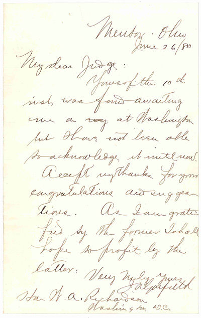 AUTOGRAPH LETTER SIGNED FROM JAMES GARFIELD TO WA