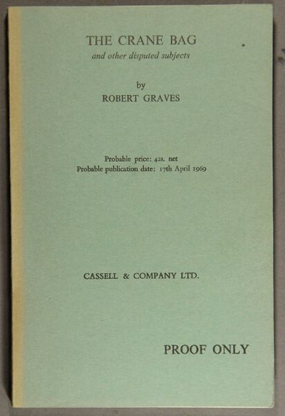 London: Cassell, 1969. First edition, proof copy, 8vo, pp. vi, , 243; original blue-green printed wr...
