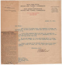 Typed letter signed by Clifford M. Holland, Chief Engineer of the Holland Tunnel sent to a Harvard classmate in response to a letter concerning the beginning of the tunnel's construction