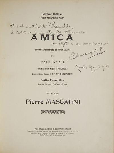 Paris: Choudens , 1905. Folio. Half textured maroon cloth with textured maroon cloth boards, titling...