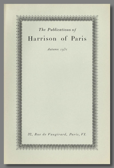 Paris: Harrison of Paris, 1931. Eight panels of text, printed on folded folio sheet, with ornamented...