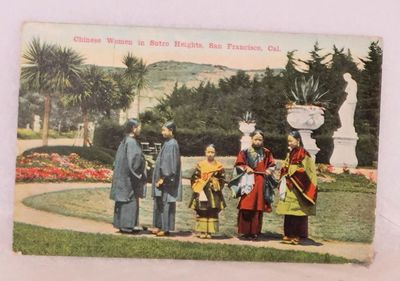 San Francisco: O. Newman Company, . Color postcard with five women in traditional silk robes standin...