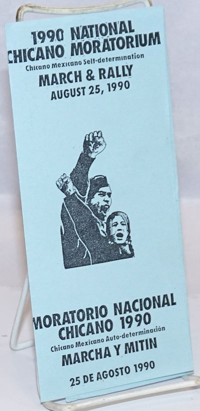 Chula Vista, CA: 1990 National Chicano Moratorium Committee, 1990. Six-panel brochure folded to 3.5x...