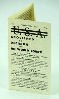 """U.S.A. (United States) Abolished By Decision of UN (United Nations) World Court: """"World Court"""" Tract 1962"""