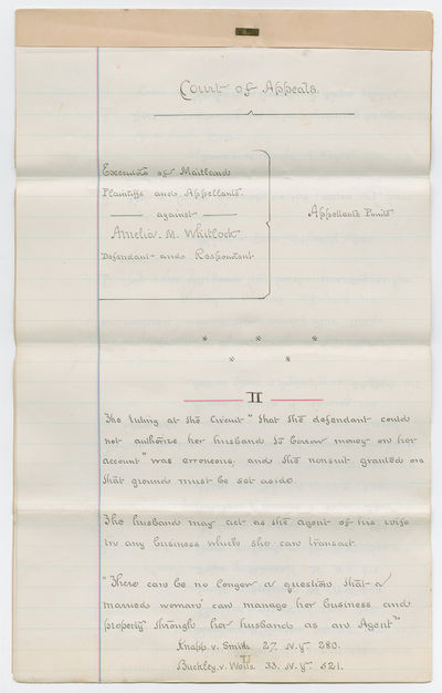 . Manuscript Document. Summary of Points in Executors of Maitland v. Amelia M. Whitlock, June 1872, ...