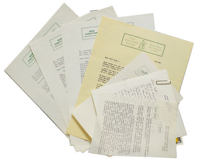 New York, Norfolk, CT, and Wilson, Wyoming, 1973. 7 pp. Various sizes. On New Directions letterhead,...