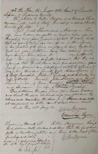Wolf Township, Sycoming County, PA, 1861. Very Good. The documents relate to an area to law that has...