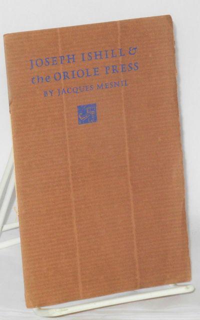 Berkeley Heights, NJ: The Oriole Press, 1958. 9p., wraps, letterpress frontis portrait, Cezanne vign...