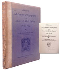 image of Notes on a Century of Typography at the University Press, Oxford, 1693-1794