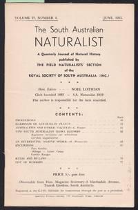 image of The South Australian Naturalist Vol.27 No.4 June 1953