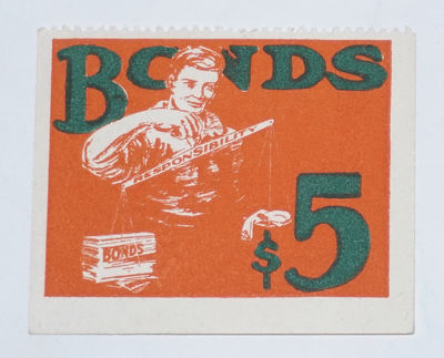 : , . Dues sticker, 2x1.75 inches, illustrated in red and green, image of a worker holding a scale l...
