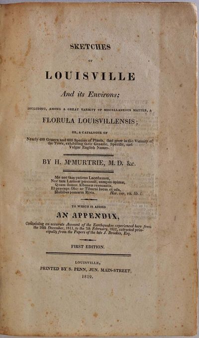 Louisville, KY: Printed by S. Penn, 1819. Book. Very good+ condition. Hardcover. First Edition. Octa...