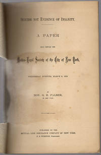 Suicide not evidence of insanity. by Palmer, Oliver H - [1878]