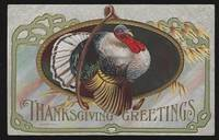 THANKSGIVING GREETING POSTCARD WITH TURKEY AND WISH BONE by Postcard - N.D. - from Gibson's Books (SKU: 82824)