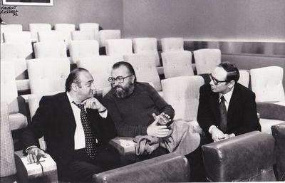 N.p.: N.p., 1972. Vintage borderless, oversize photograph of directors Sergio Leone and Henri Verneu...