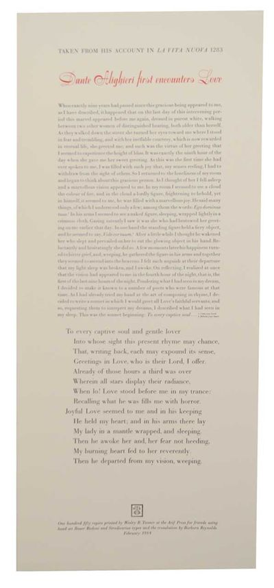 : Arif Press, 1988. First edition. Broadside printed in two colors that measures 10