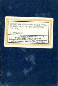 Memorie Intorno alla Vita, e agli Scritti di Lorenzo Valla
