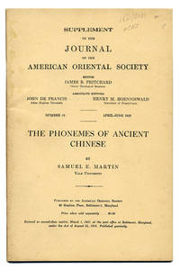 SUPPLEMENT TO THE JOURNAL OF THE AMERICAN ORIENTAL SOCIETY. . . NUMBER 16 APRIL-JUNE 1953 : THE PHONEMES OF ANCIENT CHINESE