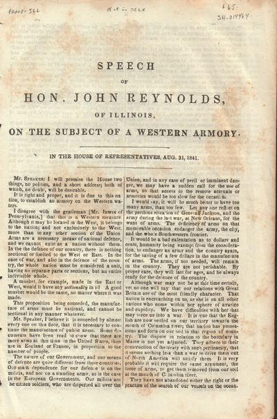 Illinois. Good. 1841. Pamphlet. Three page speech before the House of Representatives, Aug. 31, 1841...