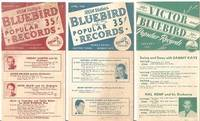 THREE (3) LEAFLETS FOR RCA VICTOR'S BLUEBIRD POPULAR RECORDS:; Newest Bands - Hottest Tunes - Biggest Hits