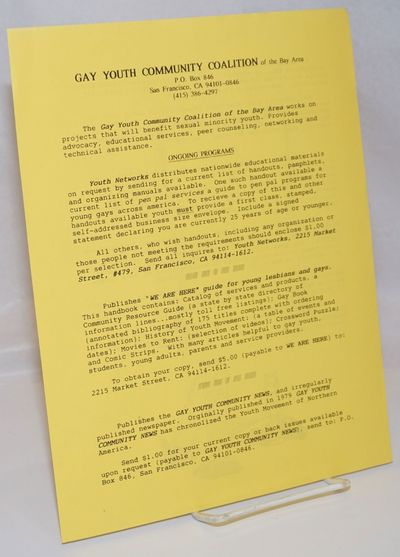 San Francisco: the Coalition, 1990. Single 8.5x11 inch handbill printed both sides with information ...